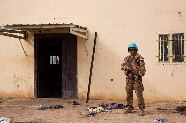 Een VN-vredesmilitair in Bentiu. Beeld null