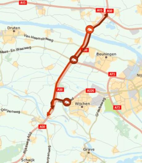 File op A50 door aanrijding, twee rijbanen weer open