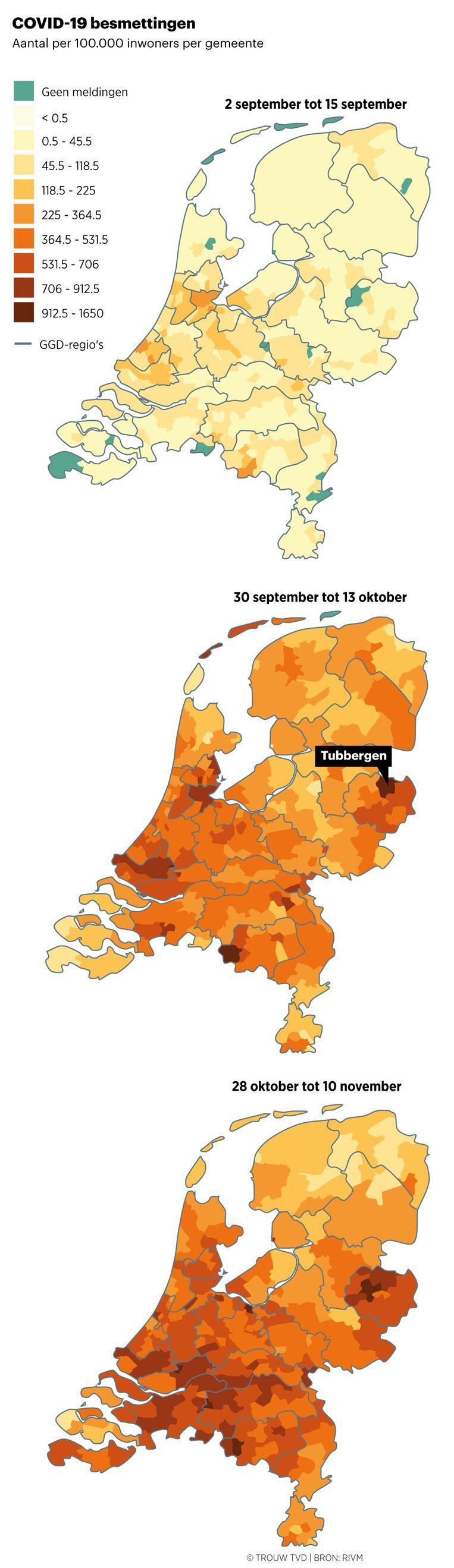 Drie 'coronakaarten' van Nederland geven een beeld van het aantal besmettingen in september, oktober en november.  Beeld Thijs van Dalen