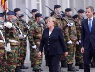 IN BEELD. Angela Merkel met veel egards ontvangen door koning Filip en premier De Croo