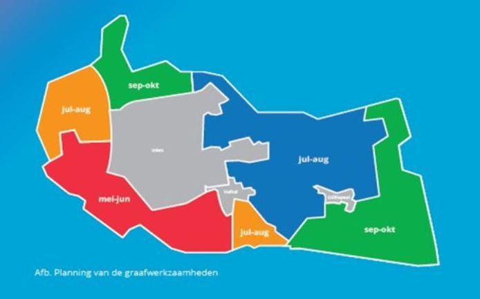 De globale planning van Digitale Stad voor de aanleg van glasvezel in het buitengebied van Uden. De zuidkant is als eerste aan de beurt voor het graafwerk. Daarna duurt het nog een paar maanden voordat de aansluiting helemaal klaar is.