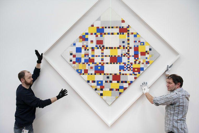 Mondriaan's schilderij Victory Boogie Woogie. Beeld EPA