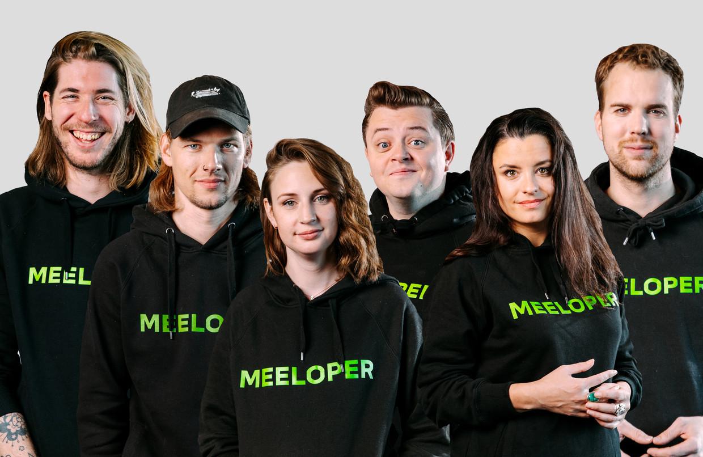 De drie presentatieduo's (vlnr): Frank van der Lende, Sander Hoogendoorn,  Sophie Hijlkema, Rob Janssen, Eva Koreman en Wijnand Speelman.