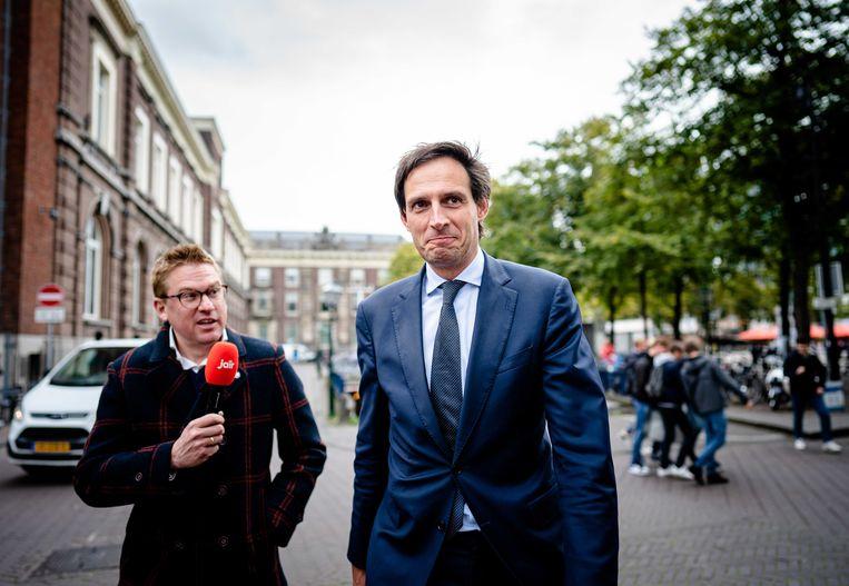 Demissionair minister Wopke Hoekstra van Financiën (CDA) bij aankomst op het Binnenhof voor de wekelijkse ministerraad.  Beeld ANP