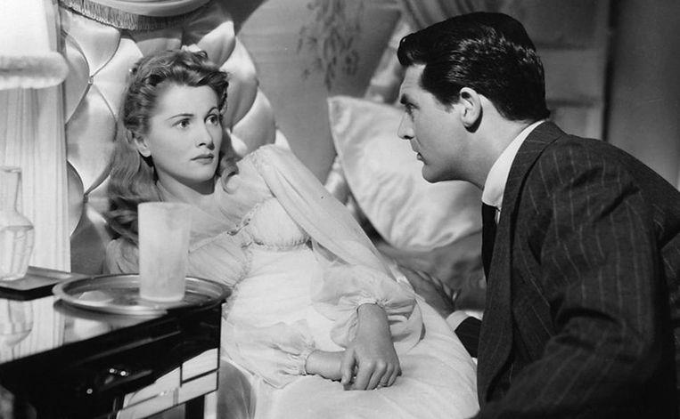 Joan Fontaine en Cary Grant in Suspicion van Alfred Hitchcock. Beeld