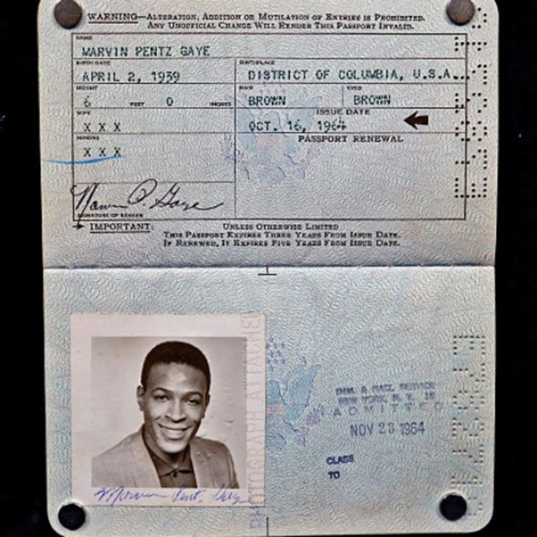 Het paspoort van Marvin Gaye, na de naamsverandering. Beeld FactMag