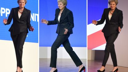 Britse premier Theresa May toont opnieuw haar beste danspasjes