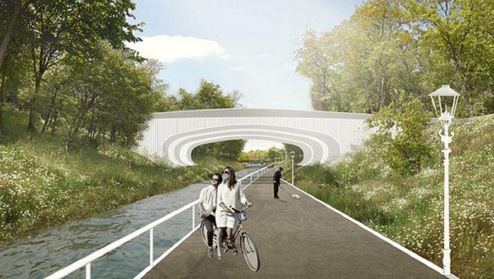 Ontwerp voor viaduct Teldersweg met een waterloop en pad tussen de Waterpartij en de Scheveningse Bosjes.