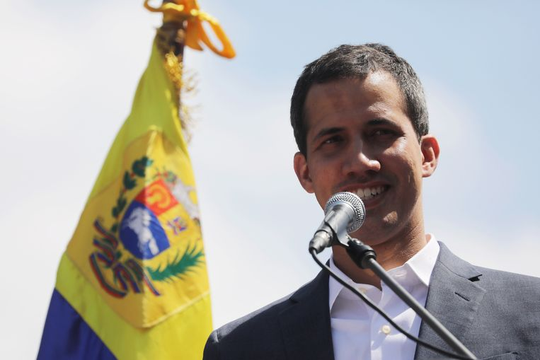 Juan Guaidó houdt een toespraak. Beeld EPA