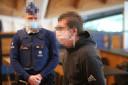 Mike G., de echtgenoot van Appelt, tijdens zijn proces in Antwerpen. Daar kreeg hij vijf jaar cel voor de helikopterkaping.