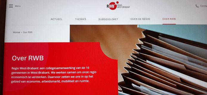 Screenshot website Regio West-Brabant.