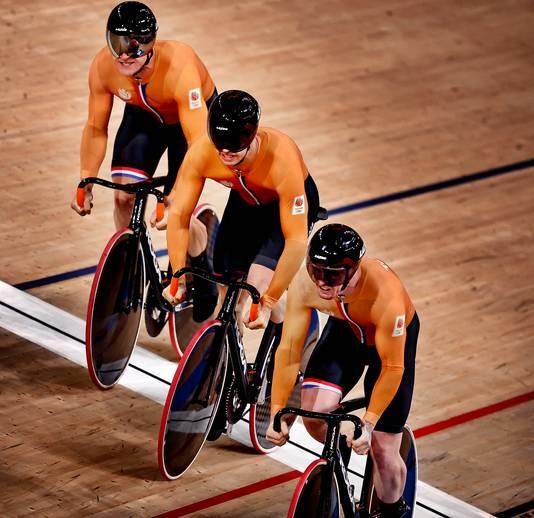 Jeffrey Hoogland, Harry Lavreysen en Roy van den Berg.