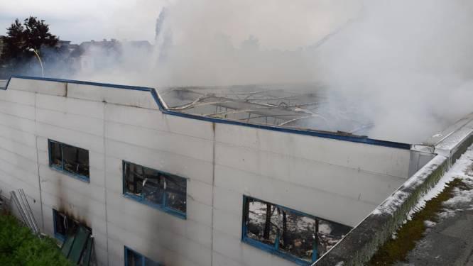 Zware brand in vleesverwerkingsbedrijf Belgino, vermoedelijk na blikseminslag. Vijftig brandweerlieden ter plekke om veiligheid te garanderen