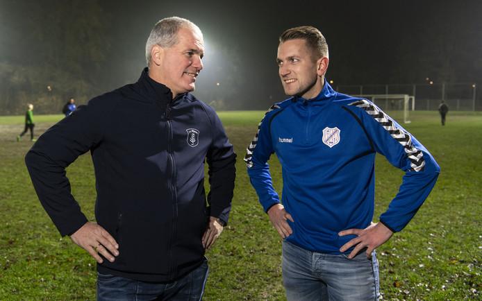 Gerald Willems (links) en Marthijn Schottert troffen elkaar deze week al op het trainingsveld. Morgen wacht de derby.