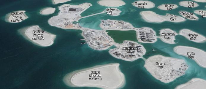 Een paar eilanden zoals 'Nederland' worden nu, na tien jaar, eindelijk bebouwd.