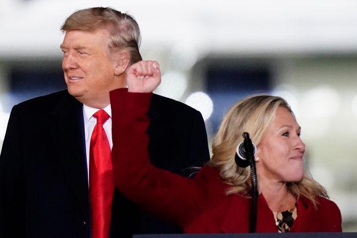 Marjorie Taylor Greene avec Donald Trump début janvier.