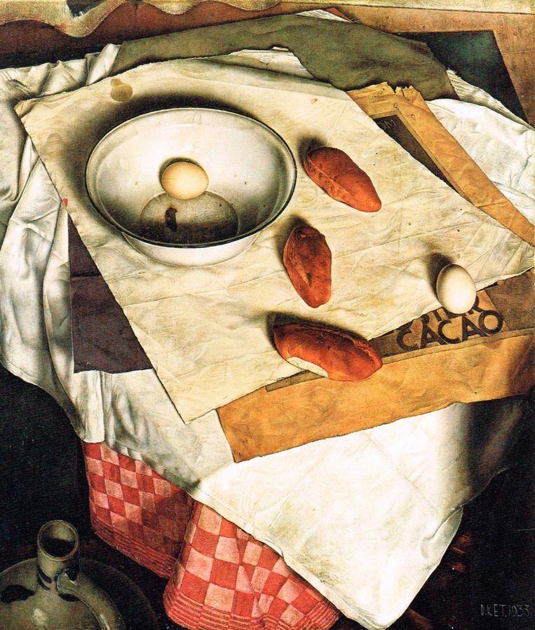 Dick-Ket: Stilleven met broodjes (1935). Beeld public domain