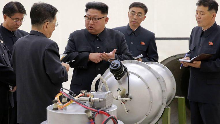 De Noord-Koreaanse leider Kim Jong-Un (centraal op de foto). Beeld ap