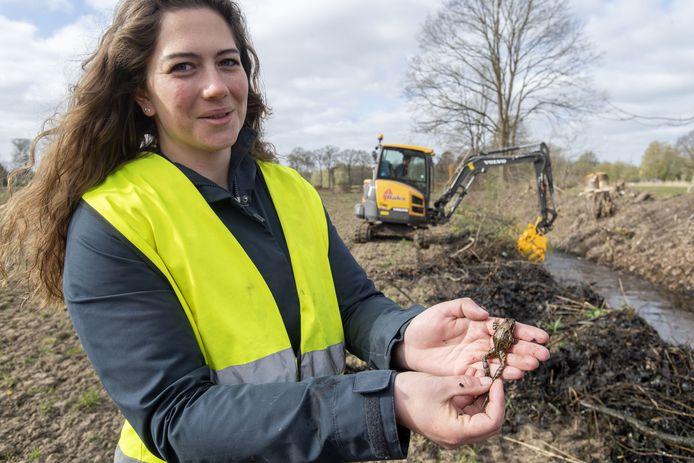 Lana Scheers vangt amfibieën in het Stelkampsveld, waar grote machine bezig zijn met herstelwerkzaamheden van het natuurgebied.
