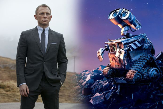 Daniel Craig als James Bond en het robotje WALL-E uit de gelijknamige Pixarfilm.