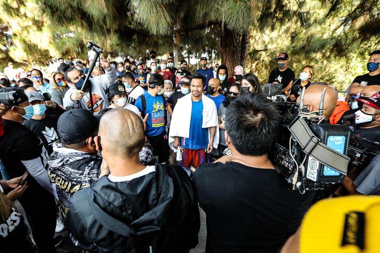 Pacquiao's bokscarrière maakt hem populair, maar kiezers twijfelen aan zijn ervaring. Beeld Getty Images