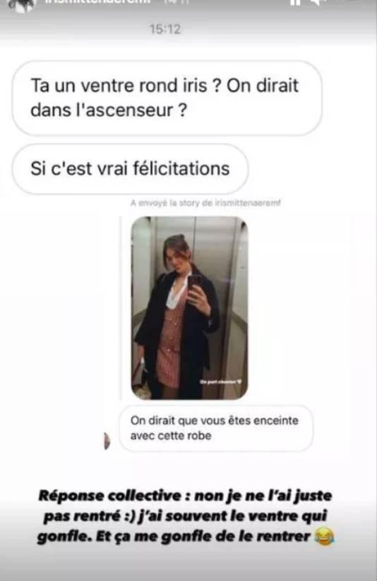 Iris Mittenaere a répondu aux rumeurs de grossesse en story Instagram.