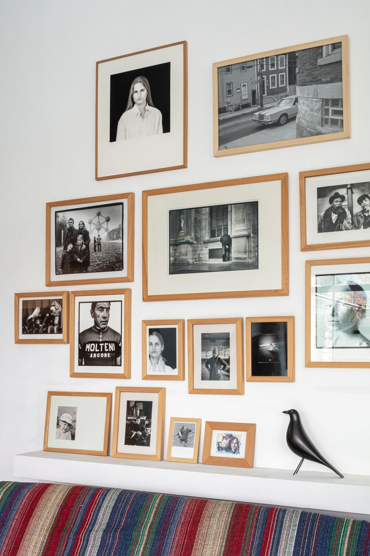 Het privéfotomuseum met werk van Charlie De Keersmaecker, Tim Dirven, Eddy Fliers en Stephan Vanfleteren, boven sofa 57 van Finn Juhl.   Beeld Tim van de Velde