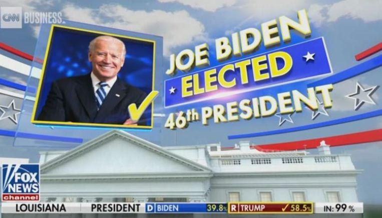 Fox News roept Joe Biden uit tot winnaar. Beeld  CNN