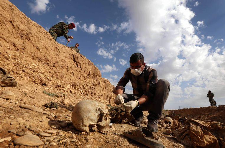 Een Irakese ambtenaar onderzoekt een van de massagraven. Beeld AFP