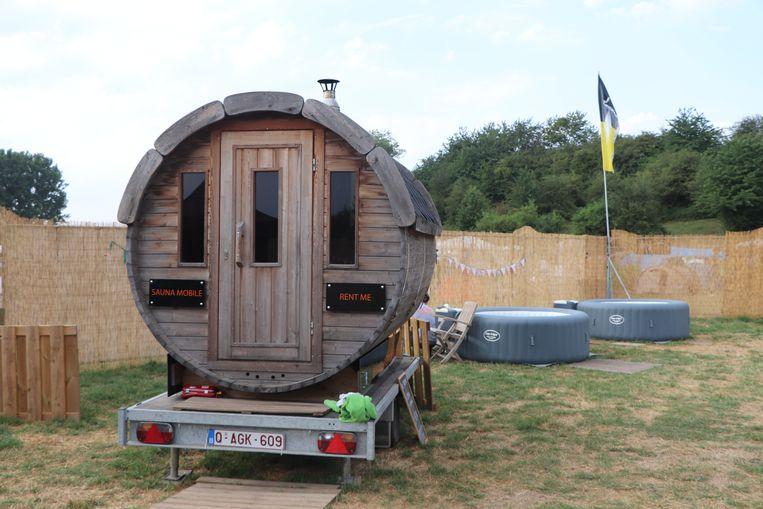 De saunacabine op de Green camping Beeld Anthony Henri