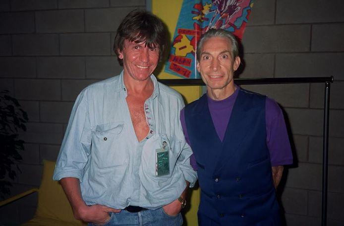 Daniel Gardin en Charlie Watts in 1990, tijdens de opnames voor de concertfilm 'Stones at Max' in Turijn.