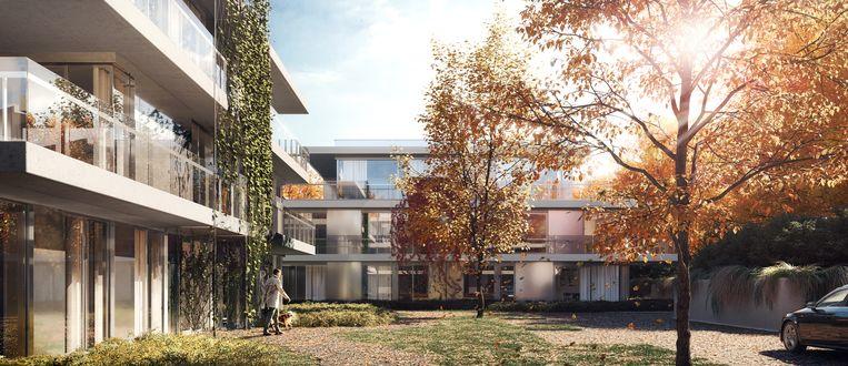 Het groen van de omgeving wordt ook doorgetrokken langs de gevels van de urban villa's.