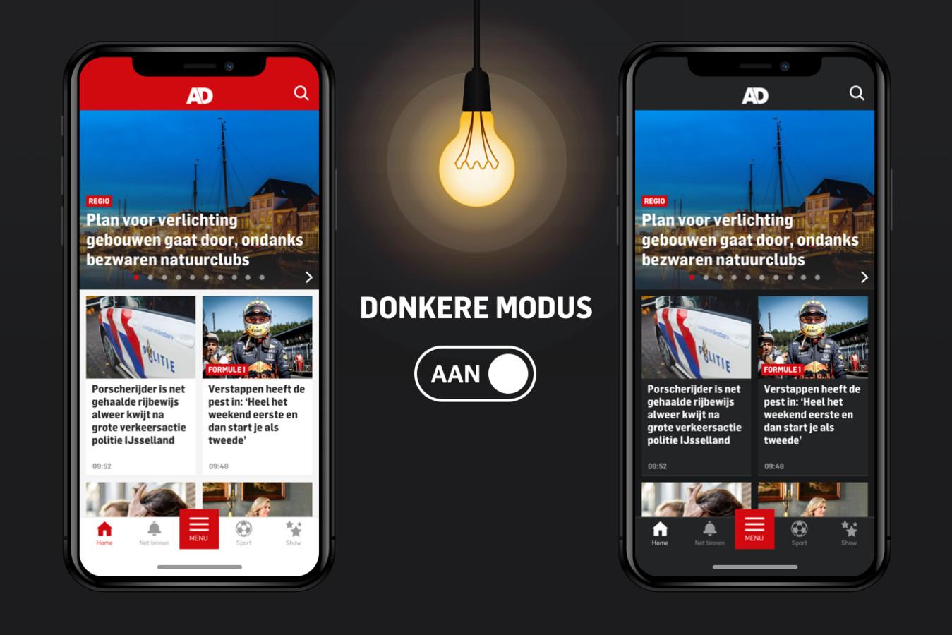 Dark mode in de AD app