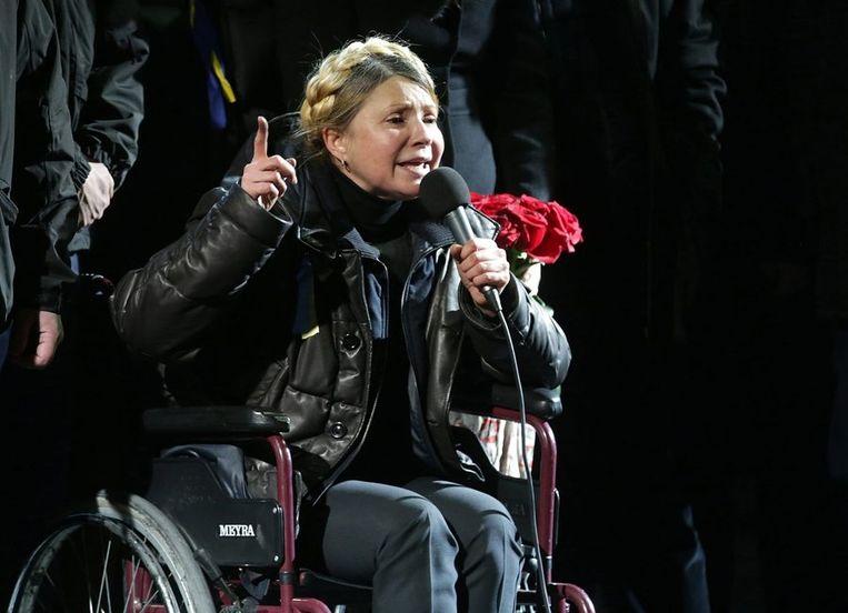 Timosjenko was in 2004 een van de leiders van de Oranjerevolutie, de volksopstand die uitbrak uit woede over grootschalige fraude bij de presidentsverkiezingen. Beeld epa