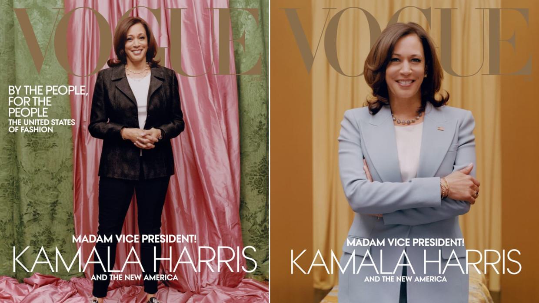 Februari 2021, Kamala Harris, gefotografeerd door Tyler Mitchell, kleding links Donald Deal en Converse, rechts Michael Kors. Beeld