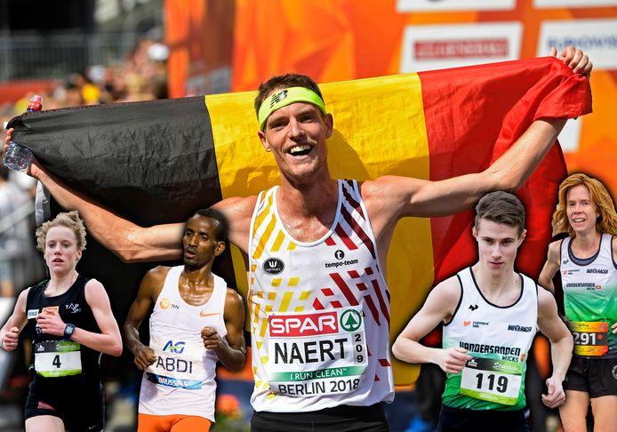 Onze marathonlopers in Tokio, van links naar rechts: Hanne Verbruggen, Bashir Abdi, Koen Naert, Dieter Kersten en Mieke Gorissen.