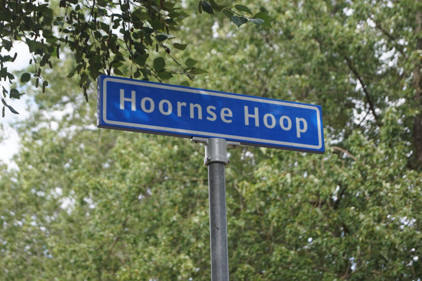 Het straatnaambord in Bunschoten, waar Hoornse Hop had moeten staan.