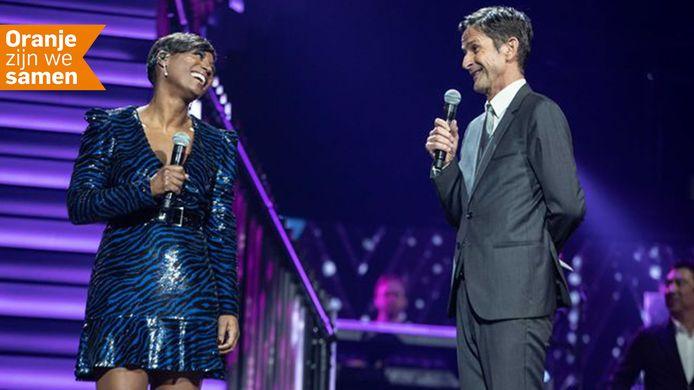 Edsilia Rombley en Cornald Maas tijdens de vorige editie van Het Grote Songfestivalfeest