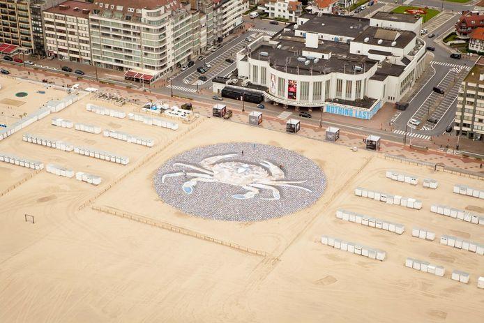 De 3.000 vierkante meter grote foto op het strand van Knokke-Heist.