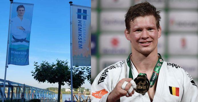 Matthias Casse, kersvers wereldkampioen, prijkt nu op verschillende vlaggen in Hemiksem.