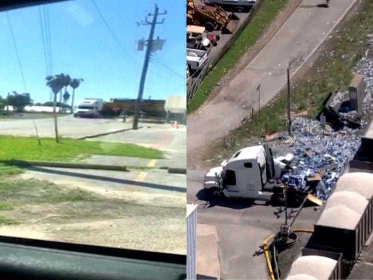 Vrachtwagen breekt doormidden na treinbotsing
