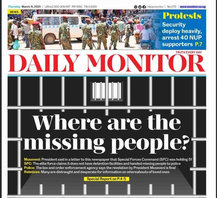 'Waar zijn de verdwenen mensen?' De Oegandese krant Daily Monitor publiceerde 200 namen van vermisten. Beeld rv