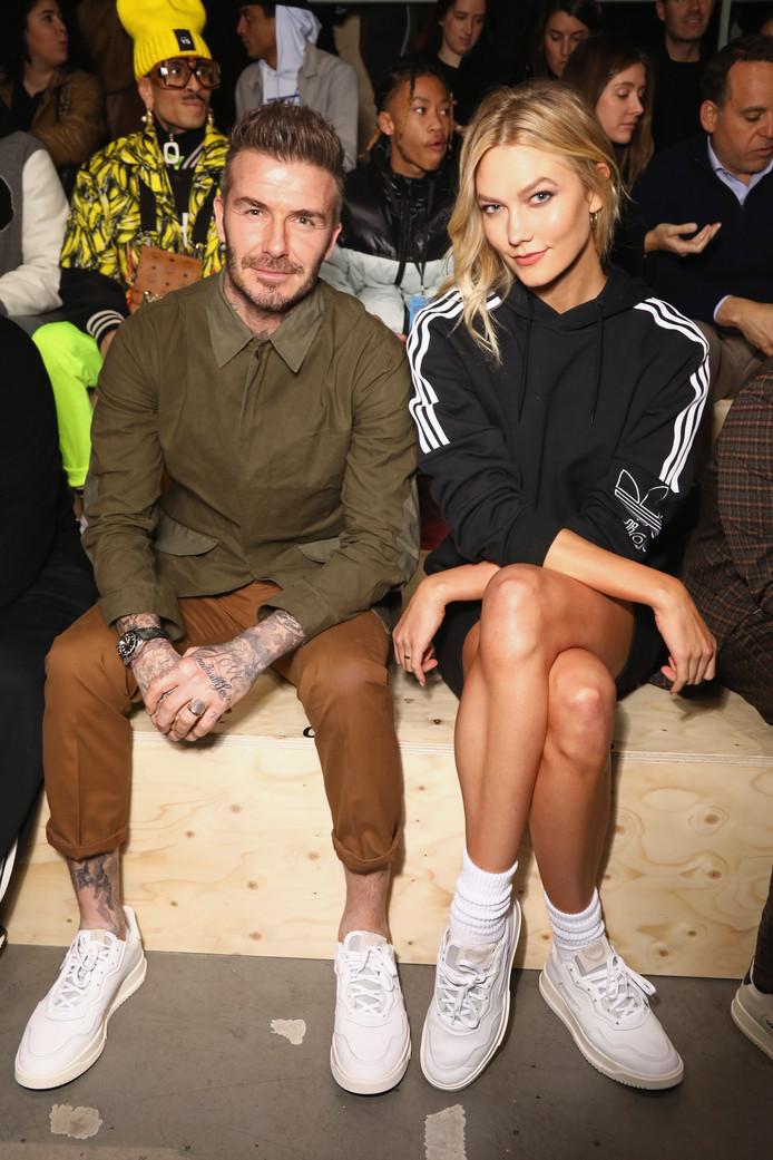 David Beckham met Karlie Kloss bij de Paris Fashion Week op 18 januari.