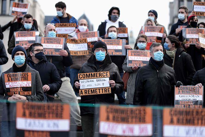 Brusselse horeca-ondernemers hielden op 5 februari een demonstratie om de maandenlange sluiting aan te kaarten.