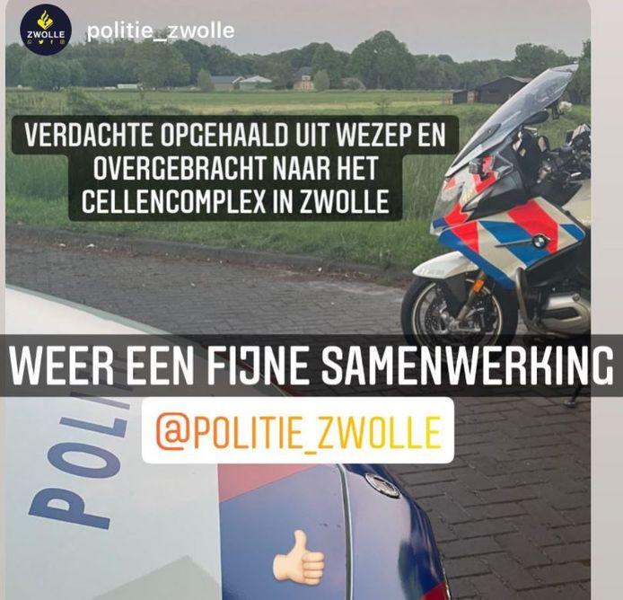 De verkeerspolitie Oost-Nederland plaatste een bericht over de aanhouding op hun Instagram account.