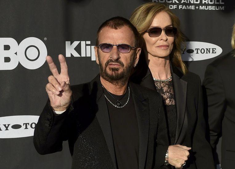 Ringo Starr met zijn vrouw Barbara Bach in Cleveland gisteren.