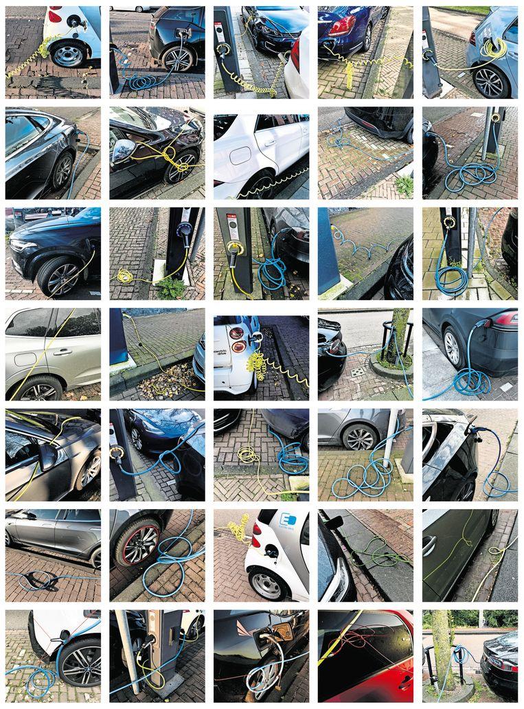 Tijdens haar ochtendwandelingen kwam Barbara van Schaik veel 'aangelijnde' voertuigen tegen: elektrische en hybride auto's die tijdelijk hun vrijheid moeten opgeven om via een oplaadkabel van verse energie te worden voorzien.   Beeld Barbara van Schaik