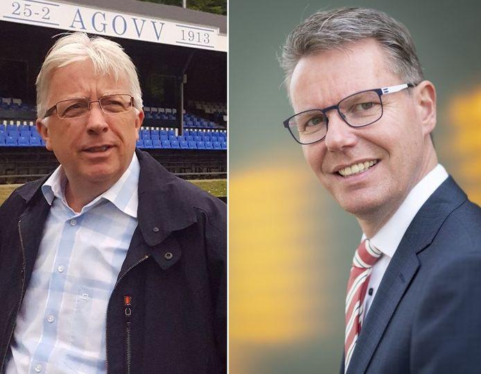 AGOVV-voorzitter Martin Maassen (l) en wethouder Wim Willems staan lijnrecht tegenover elkaar, maar de gemeente Apeldoorn stoomt door met plannen voor een definitieve Apenheul-parking op oefenvelden van de voetbalclub.