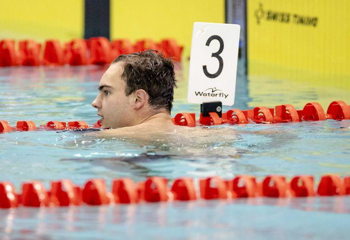 Nyls Korstanje na de 100 meter vlinderslag in de finales tijdens de Rotterdam Qualification Meet waar gestreden werd om een ticket voor de Olympische Spelen.