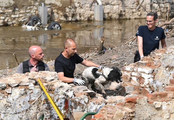 Des membres de la police fédérale belge recherchent des corps dans les décombres à Pepinster, près de Liège, le 19 juillet 2021.
